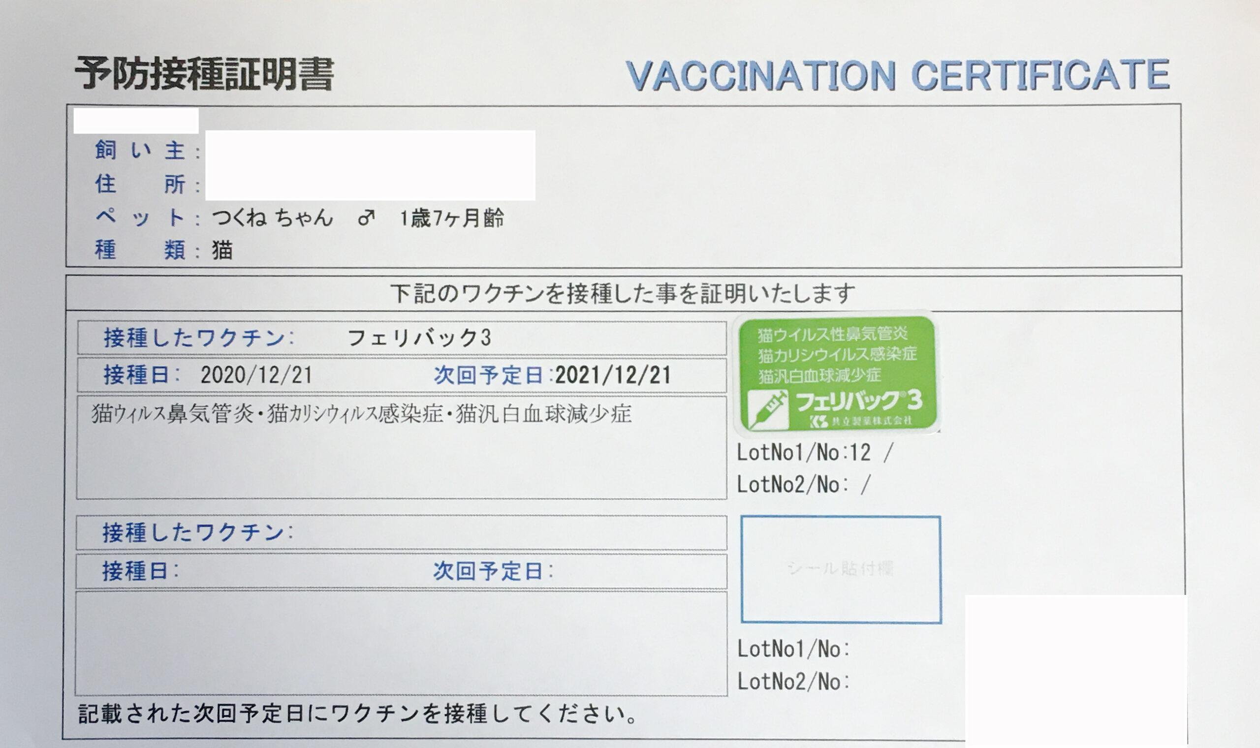 猫 3種混合ワクチン