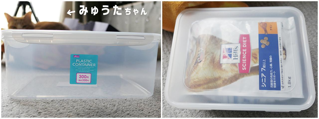 猫のフード保存容器 ダイソー